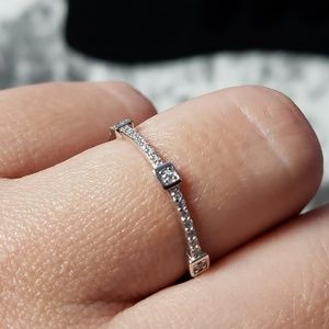 Jewelry - 925 Silver Stackable Cubic Zirconia Band